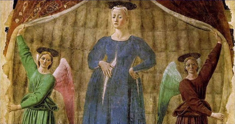 Details of the Madonna del Parto at Monterchi by Piero della Francesca