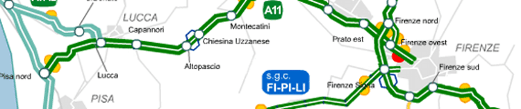 Click for larger image of roadways around Florence, Pisa, Siena