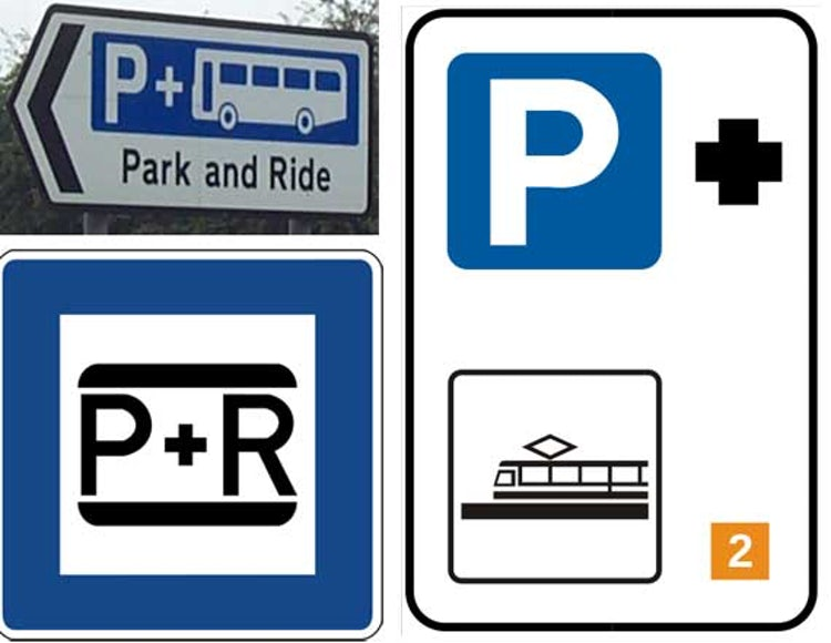 Italian road signs for Park and Ride