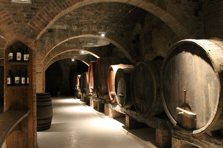 Wine cellar at the Abbey of Monte Oliveto Maggiore