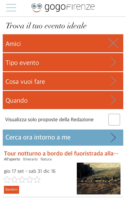 Schermata della App GoGoFirenze