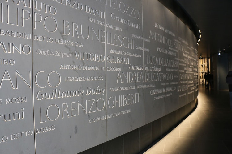 Artist wall at the Museum of the Opera di Duomo in Florence