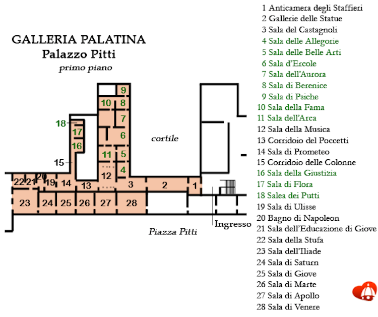 Palatine Gallery floorplan in the Palazzo Pitti