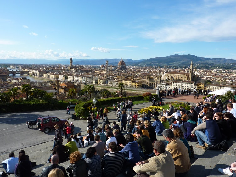 A view of the city from above: Florence from Piazzale Michelangelo