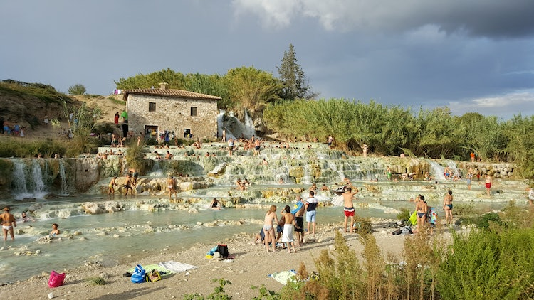 Panoramic view of Saturnia, Tuscany near Cascate del Mulino