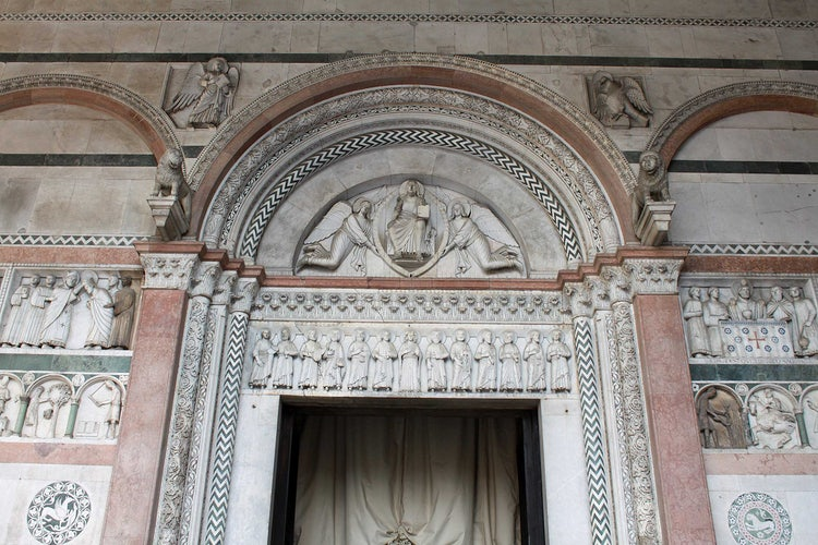 Marble carvings in the Portico of the Duomo San Martino in Lucca