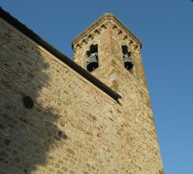 The church bell tower at Santa Maria  in Campagnatico