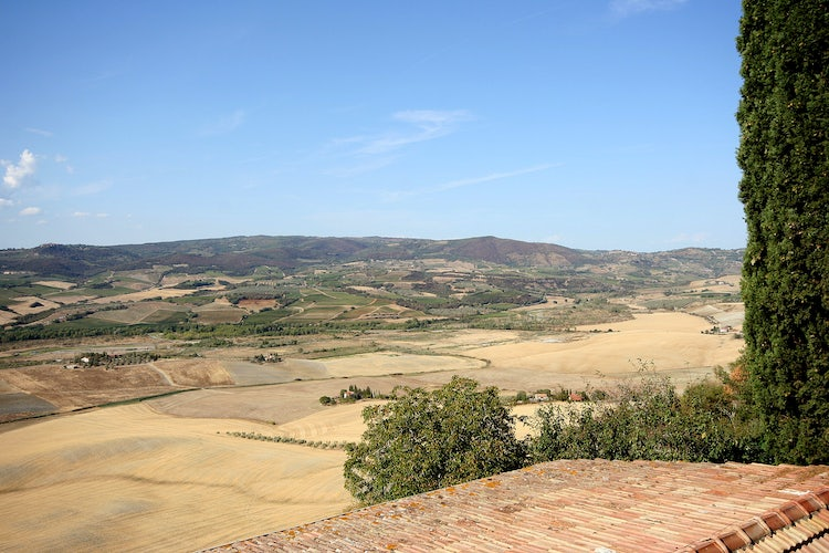 Landscape as seen from Montenero d'Orcia town walls in Montecucco, Maremma