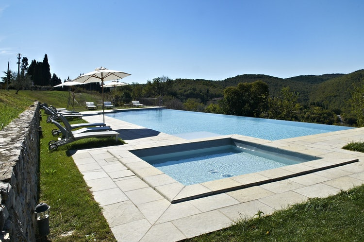 Poolside view for Borgo Pietrafitta near Castellina in Chianti