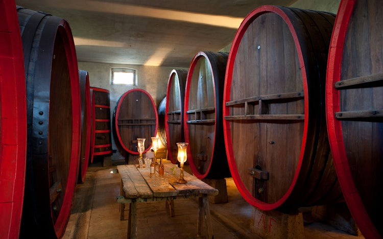 Wine cellars in a vacation villa rental in Tuscany