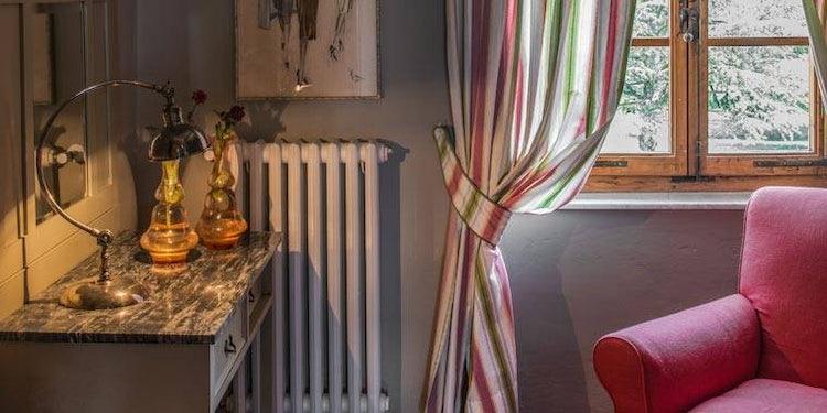 Bedroom detail at Villa Piaggia near Montaione
