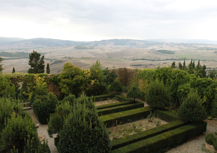 Garden and Landscape in Pienza in Val d'Orcia Tuscany