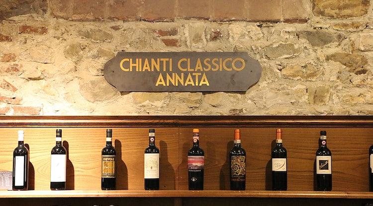 Wine bottles in Greve in Chianti